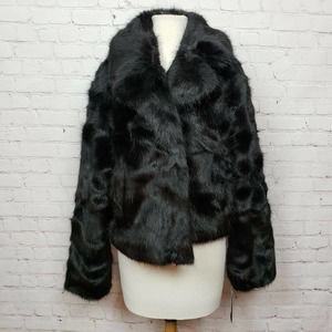 Sebby Collection Faux Fur Notch Lapel Jacket Black